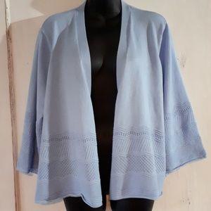 Avenue Light Blue Knit Cardigan - Size 22/24